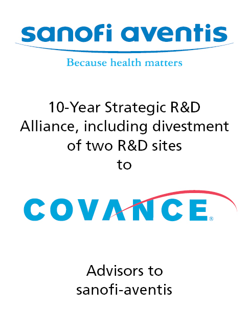 PharmaVentures acts as exclusive advisor to Sanofi-Aventis in landmark divestment deal with Covance
