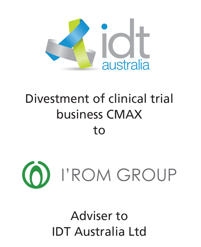 PharmaVentures advises IDT Australia on the divestment of CMAX clinical trial business to the Japanese company I'rom Group Co. Ltd.