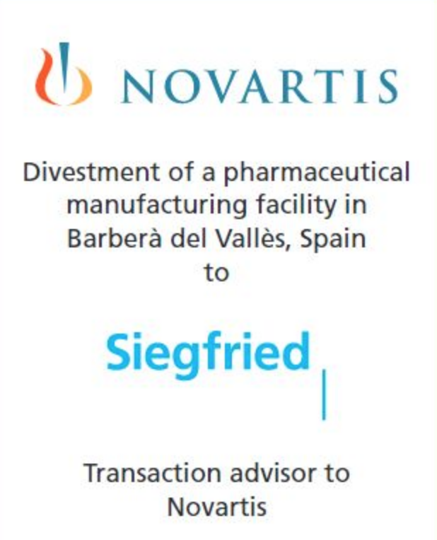 PharmaVentures advises Novartis on the sale of its manufacturing facility in Barberà del Vallès to Siegfried Holding AG