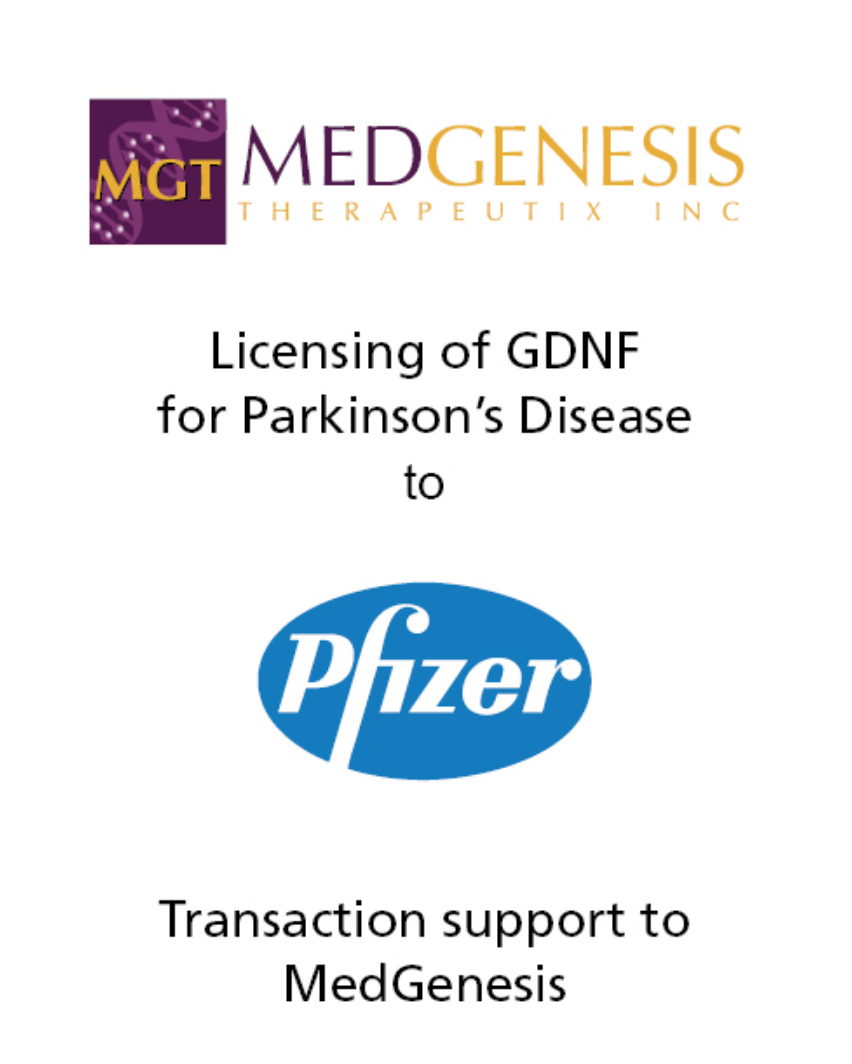 PharmaVentures Advises MedGenesis in Agreement with Pfizer for Its Potential Therapy for Parkinson's Disease