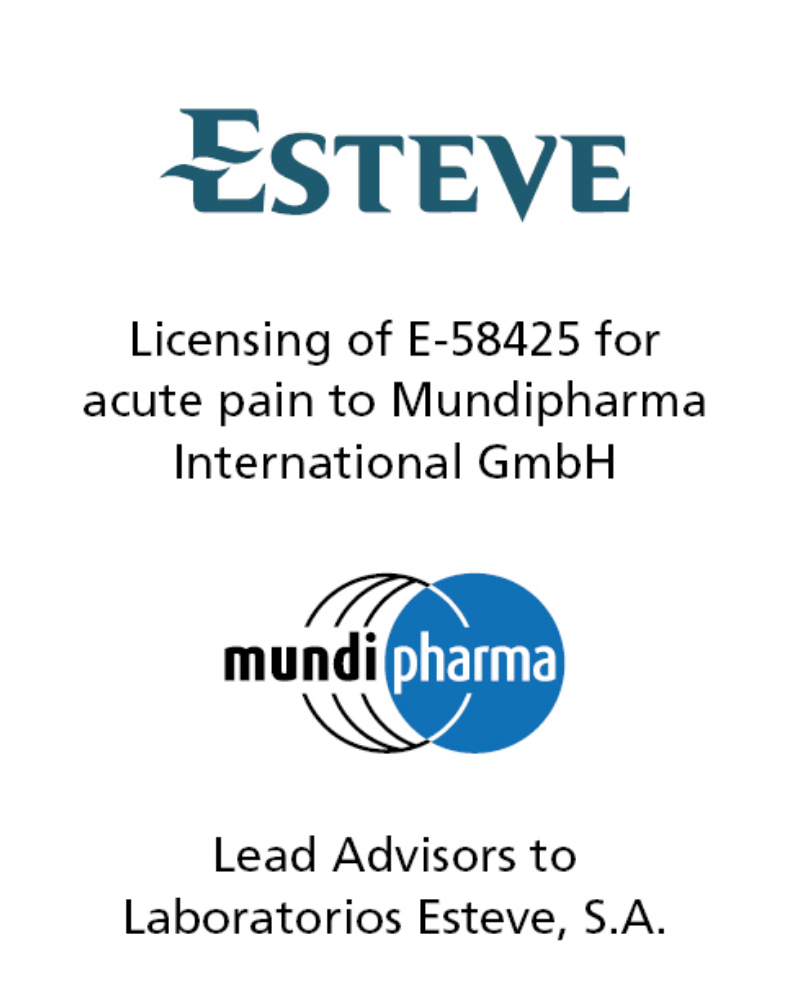 PharmaVentures Advises ESTEVE in Its pharma licensing Deal for E-58425, a New Therapeutic Product for Pain