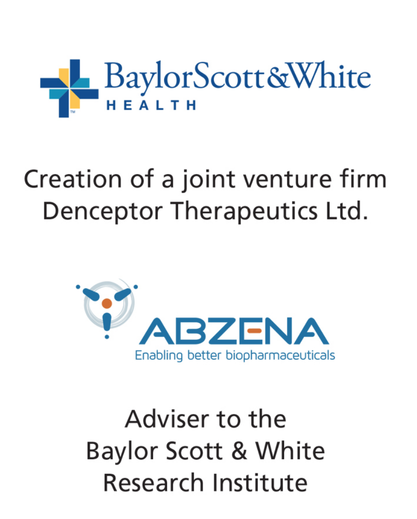 PharmaVentures advises the Baylor Scott & White Research Institute on collaboration with Abzena plc and creation of Denceptor Therapeutics